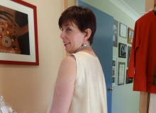 Meredith in a clever little silk swing back singlet she made